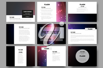 Set of 9 vector templates for presentation slides. Flashes against dark background.