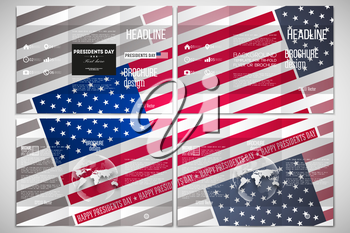 Vector set of tri-fold brochure design template on both sides with world globe element. Presidents day background with american flag, abstract vector illustration.