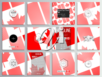 Set of 12 creative cards, square brochure template design. National Flag of Canada Day. Abstract dotted vector background.