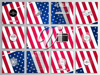 Set of 12 creative cards, square brochure template design. Presidents day background with american flag, abstract vector illustration