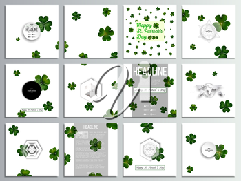 Set of 12 creative cards, square brochure template design. St Patricks day vector background, green clovers on white.