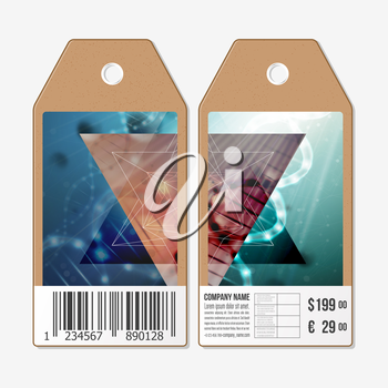 Vector tags design on both sides, cardboard sale labels with barcode. DNA molecule structure on a green background. Science vector background.