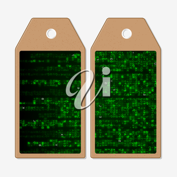 Vector tags design on both sides, cardboard sale labels. Virtual reality, abstract technology background with green symbols, vector illustration.