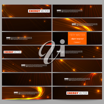 Set of modern vector banners. Abstract lines background, dynamic glowing decoration, motion design, energy style vector illustration