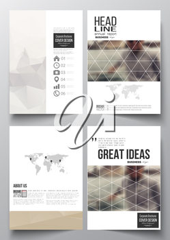 Set of business templates for brochure, magazine, flyer, booklet or annual report. Polygonal background, blurred image, vacation, travel, tourism. Modern triangular vector texture.