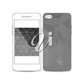 Mobile smartphone with an example of the screen and cover design isolated on white background. Construction with connected lines, digital design vector