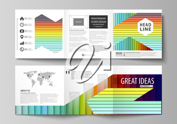 Set of business templates for tri fold brochures. Square design. Leaflet cover, abstract flat layout, easy editable vector. Bright color rectangles, colorful design with overlapping geometric rectangu