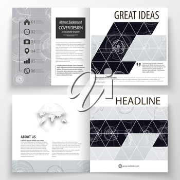 Business templates for square bi fold brochure, magazine, flyer. Leaflet cover, flat layout. High tech design, connecting system. Science and technology concept. Futuristic abstract vector background