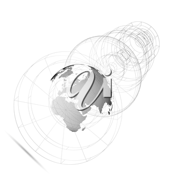 Isolated 3D dotted world globe with abstract construction, connecting lines on white background. Vector design, structure, shape, form, orbit, space station. Scientific research. Science, technology c