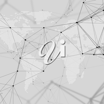 Abstract futuristic network shapes. High tech background with connecting lines and dots, polygonal linear texture. World map on gray. Global network connections, geometric design, dig data technology