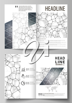 Business templates for bi fold brochure, magazine, flyer, booklet or annual report. Cover design template, easy editable vector, abstract flat layout in A4 size. Chemistry pattern, molecular texture,