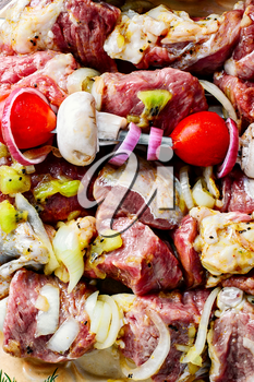 Meat in the spices and marinade with kiwi threaded on skewers for kebabs