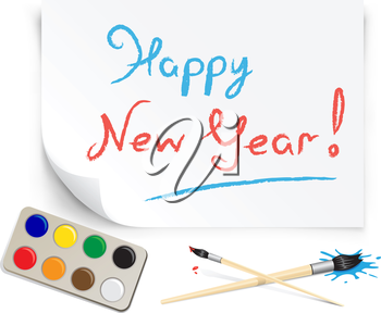 children's drawing happy new year on the white paper