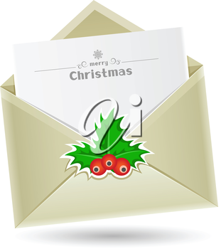 The Christmas mail, open envelope with a sheet of paper inside isolated on the white background