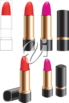 Female lipstick isolated on a white background