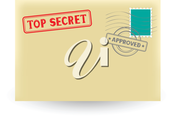 The secret correspondence, closed envelope with stamp on the white background