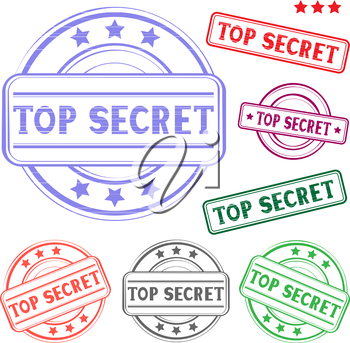 The different top secret colored stamp isolated on white background