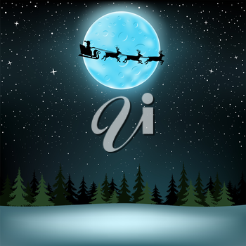 The Santa Claus with reindeer flying over night spruce wood, large blue moon and stars on background