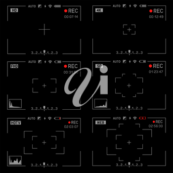Camera viewfinder rec set collection on transparent black background. Record video snapshot photography