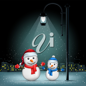 Snowmans standing on lamp lights. Christmas snowflakes falls on night city background. Large electric pillar light up snowman