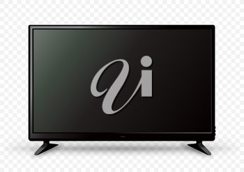 Big black TV icon template on two holders with shadow on white transparent background. Television LED display screen. Flat media technology eletronic equipment. LCD computer monitor
