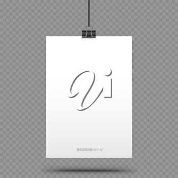 Piece of paper hanging in holders with shadow on transparent background. Empty white vertical poster template in clamp hang on the black cord