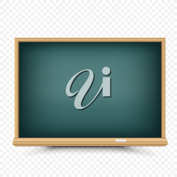 Education green blackboard drawing or write template with shadow on transparent background. Empty school chalkboard