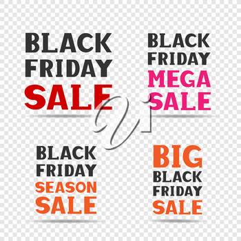 Red pink orange and black big friday sale message label set on transparent background. Business communication dialog or quote template collection sign.