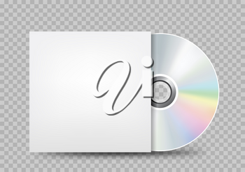 The CD-DVD compact disc and white empty paper case template with shadow on transparent background