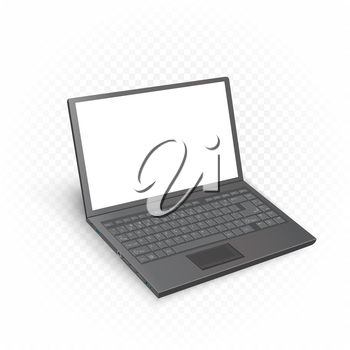 Black laptop mockup template with shadow and white blank screen. Computer technology equipment