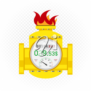 Gas meter counter icon and debt amount on white transparent background. Fire fuel sign teplate. Energy metering symbol