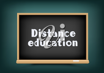 Online distance education blackboard on dark green background. E-learning school chalkboard with text message