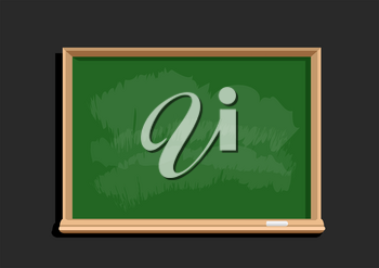 Empty education blackboard template. Green chalkboard flat design