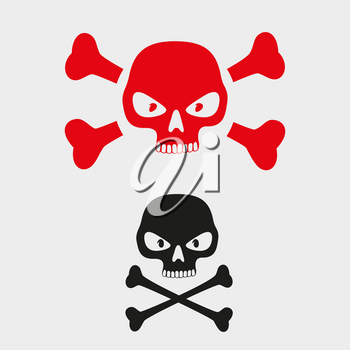 Skull danger sign symbol pictogram isolated on gray background. Red and black skulls with crossbones. Human head and bones skeleton means hazard