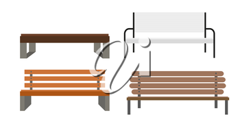 Outdoor Bench Icon Set Vector Illusrtarion Eps10