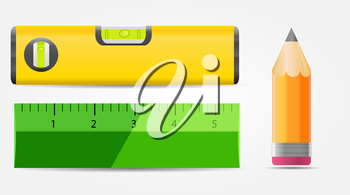 Pencil, Level and Ruler Icon Vector Illustration EPS10