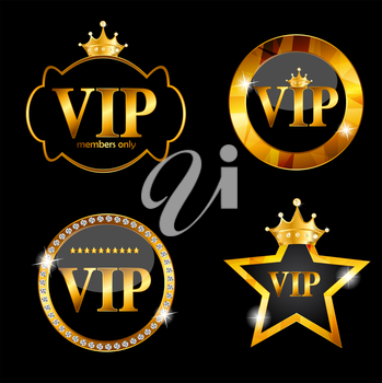 VIP Members Card on Black Background. Vector Illustration EPS10