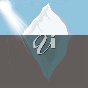 Cold Iceberg in Ocean Under Sun Shine. Vector Illustration. EPS10