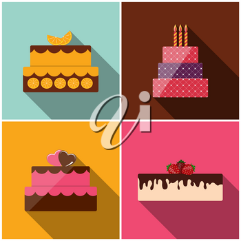 Birthday Cake Flat Icon for Your Design, Vector Illustration Eps10