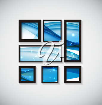 Abstract Gallery Background with Frame and Beautiful Wave. Vector Illustration EPS10
