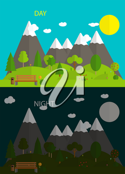 Beautiful nature. Day and night in Modern Flat Design Vector Illustration. EPS10