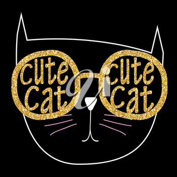 Cute Handdrawn Cat Vector on Black Illustration EPS10