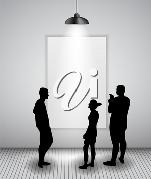 Silhouette of people in Background with Lighting Lamp and Frame look at the Empty Space for Your Text, Object or advertisement. Vector Illustration. EPS10