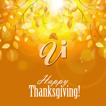 Happy Thanksgiving Day Background with Shiny Autumn Leaves.