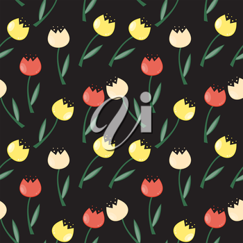 Floral Seamless Pattern Background with Tulips Vector Illustration EPS10