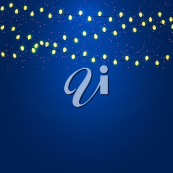 Christmas and New Year  Background with Luminous Garland Vector Illustration EPS10
