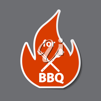 BBQ Icon Sticker with Grill Tools. Vector Illustration EPS10
