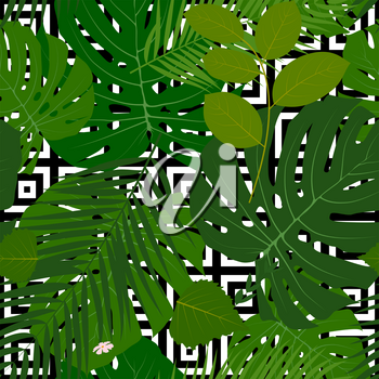 Summer Abstract Seamless Pattern Background with Palm Leaves. Vector Illustration EPS10