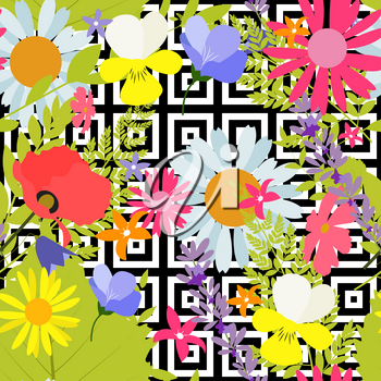 Summer Abstract Seamless Pattern Background with Palm Leaves and Flowers. Vector Illustration EPS10