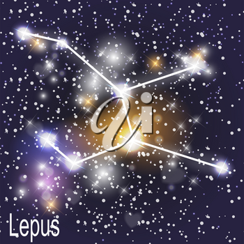 Lepus Constellation with Beautiful Bright Stars on the Background of Cosmic Sky Vector Illustration. EPS10